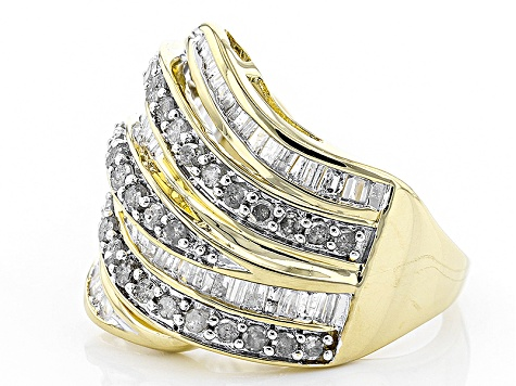 White Diamond 14k Yellow Gold Over Sterling Silver Ring 1.50ctw
