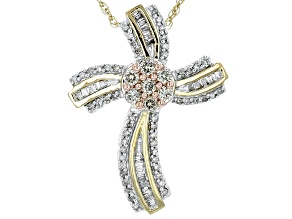 Diamond 14k Yellow Gold Over Sterling Silver Pendant .50ctw