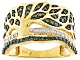 Green And White Diamond 14k Yellow Gold Over Sterling Silver Tree Band Ring .50ctw