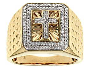 White Diamond 14k Yellow Gold Over Sterling Silver Gents Ring .10ctw