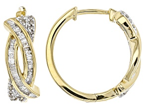 White Diamond 14k Yellow Gold Over Sterling Silver Earrings .38ctw