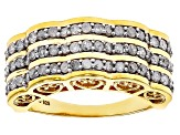 White Diamond 14k Yellow Gold Over Sterling Silver Ring .95ctw