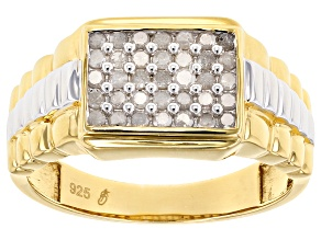 White Diamond Rhodium And 14k Yellow Gold Over Sterling Silver Mens Cluster Ring .50ctw