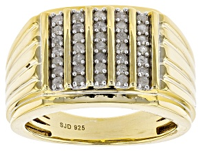 White Diamond 14k Yellow Gold Over Sterling Silver Gents Ring .50ctw