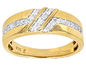 White Diamond 14k Yellow Gold over Sterling Silver Mens Band Ring .33ctw