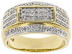 White Diamond 14K Yellow Gold Over Sterling Silver Mens Band Ring 0.53ctw