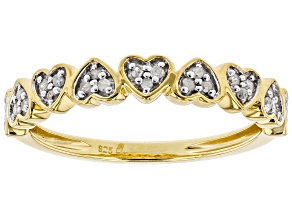 White Diamond 14k Yellow Gold over Sterling Silver Ring .12ctw