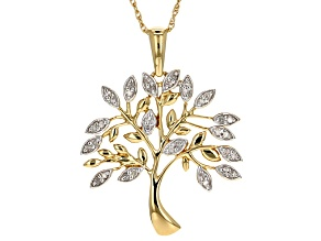"White Diamond 14k Yellow Gold Over Sterling Silver Tree Pendant With 18"" Rope Chain .20ctw"