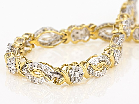 White Diamond 14k Yellow Gold Over Sterling Silver Bracelet 1.00ctw