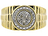 White Diamond 14k Yellow Gold Over Sterling Silver Mens Cluster Ring .10ctw