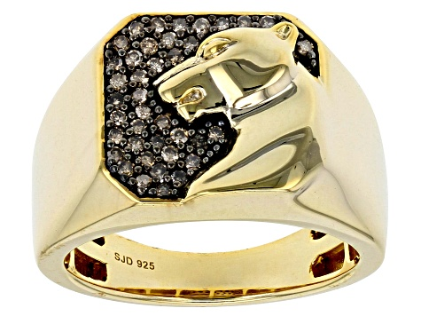 Champagne Diamond 14k Yellow Gold over Sterling Silver Gents Ring .35ctw