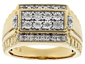 White Diamond 14k Yellow Gold over Sterling Silver Gents Statement Ring .15ctw