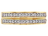 White Diamond 14k Yellow Gold over Sterling Silver Set of 2 Band Rings .33ctw