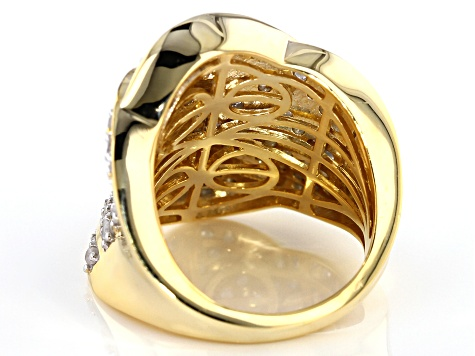 White Diamond 14k Yellow Gold over Sterling Silver Ring 2.00ctw