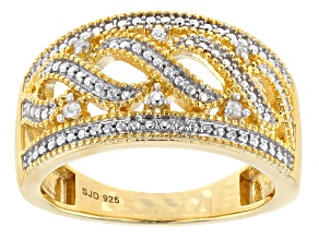 White Diamond 14k Yellow Gold Over Sterling Silver Ring Diamond Accent