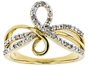 White Diamond 14k Yellow Gold Over Sterling Silver Ring .19ctw