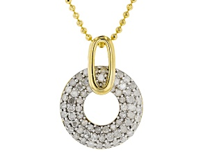 White Diamond 14k Yellow Gold Over Sterling Silver Pendant .80ctw