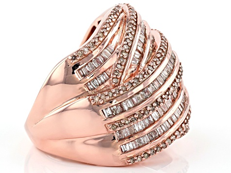 Champagne and White Diamond 14k Rose Gold Over Sterling Silver Ring 1.85ctw