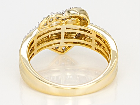 Engild™ White Diamond Yellow Gold Over Sterling Silver Ring 0.50ctw
