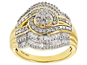 Engild™ White Diamond 14k Yellow Gold Over Sterling Silver Ring 1.00ctw