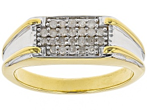 Engild™ White Diamond 14K Yellow Gold Over Sterling Silver Gents Ring 0.30ctw