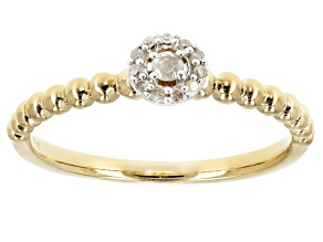 White Diamond Accent14K Yellow Gold Over Sterling Silver Ring