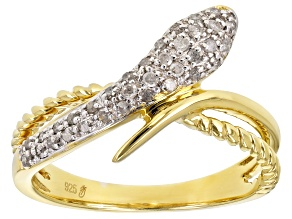 White Diamond 14K Yellow Gold Over Sterling Silver Ring 0.20ctw