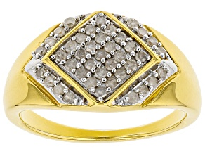 0.55ctw Round White Diamond 14k Yellow Gold Over Sterling Silver Mens Cluster Ring