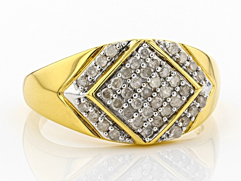 0.55ctw Round White Diamond 14k Yellow Gold Over Sterling Silver Gents Ring