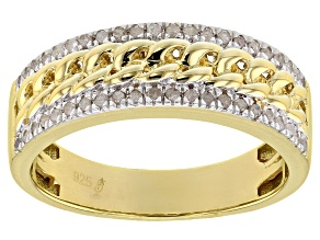White Diamond 14k Yellow Gold Over Sterling Silver Mens Band Ring 0.25ctw