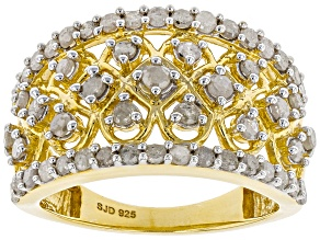 White Diamond 14k yellow Gold Over Sterling Silver Ring 1.30ctw