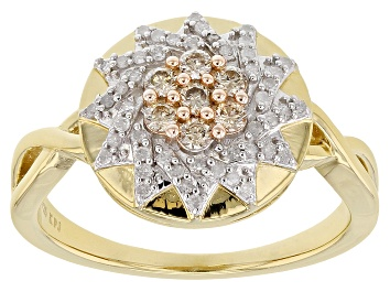 Picture of Engild™ Champagne And White Diamond 14k Yellow Gold Over Sterling Silver Ring 0.33ctw