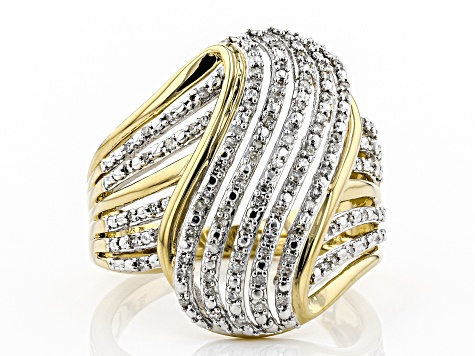 Engild™ White Diamond 14k Yellow Gold Over Sterling Silver Ring 0.25ctw