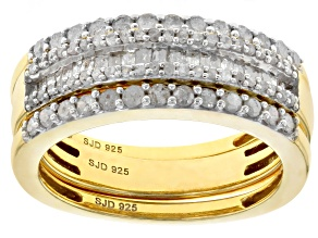 White Diamond 14k Yellow Gold Over Sterling Silver Ring Set 0.80ctw