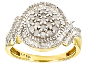White Diamond 14k Yellow Gold Over Sterling Silver Ring 0.75ctw