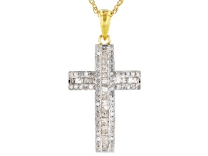 White Diamond 14k Yellow Gold Over Sterling Silver Pendant 0.45ctw