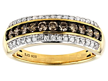 Picture of Engild™ Champagne And White Diamond 14k Yellow Gold Over Sterling Silver Ring 0.65ctw