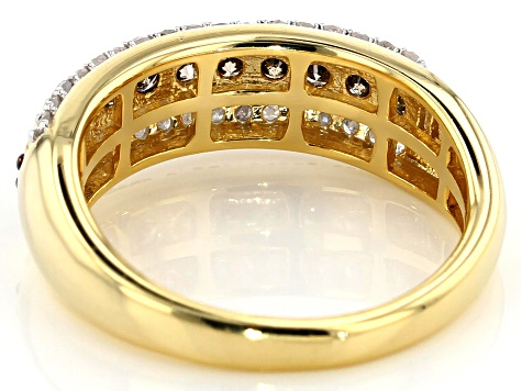 Engild™ Champagne And White Diamond 14k Yellow Gold Over Sterling Silver Ring 0.65ctw