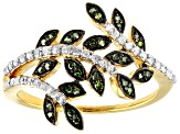 Green And White Diamond 14k Yellow Gold Over Sterling Silver Ring 0.33ctw