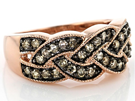 Champagne Diamond 14k Rose Gold Over Sterling Silver Band Ring 0.55ctw