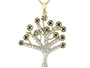 White, Red, Blue And Green Diamond 14K Yellow Gold Over Sterling Silver Pendant With Chain 0.33ctw