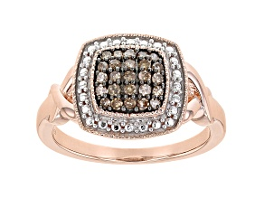 Champagne Diamond 14K Rose Gold Over Sterling Silver Cluster Ring 0.28ctw