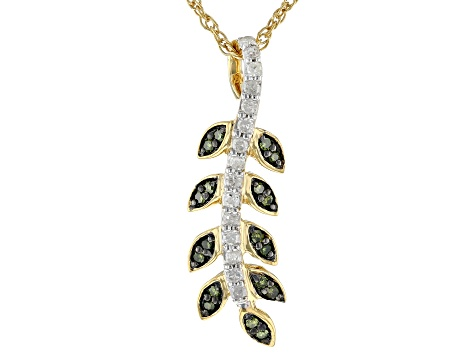 Green And White Diamond 14K Yellow Gold Over Sterling Silver Pendant With 18