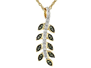 "Green And White Diamond 14K Yellow Gold Over Sterling Silver Pendant With 18"" Chain 0.16ctw"