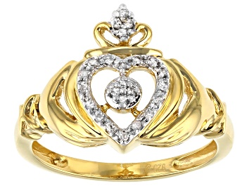 Picture of White Diamond 14K Yellow Gold Over Sterling Silver Claddagh Ring 0.10ctw
