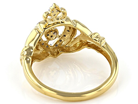 White Diamond 14K Yellow Gold Over Sterling Silver Claddagh Ring 0.10ctw