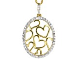 White Diamond 14K Yellow Gold Over Sterling Silver Pendant With 18