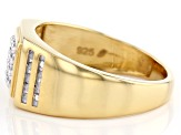 White Diamond 14K Yellow Gold Over Sterling Silver Mens Ring 0.15ctw