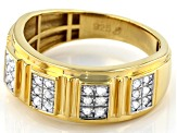 White Diamond 14k Yellow Gold Over Sterling Silver Mens Band Ring 0.50ctw