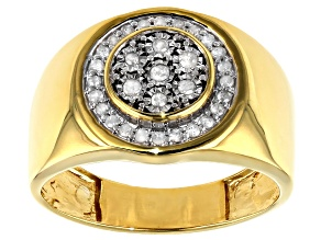 White Diamond 14k Yellow Gold Over Sterling Silver Mens Cluster Ring 0.25ctw